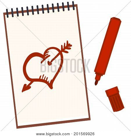 Vector Notebook With Red Felt-tip Pen And Sketch Drawings: Heart And Arrow
