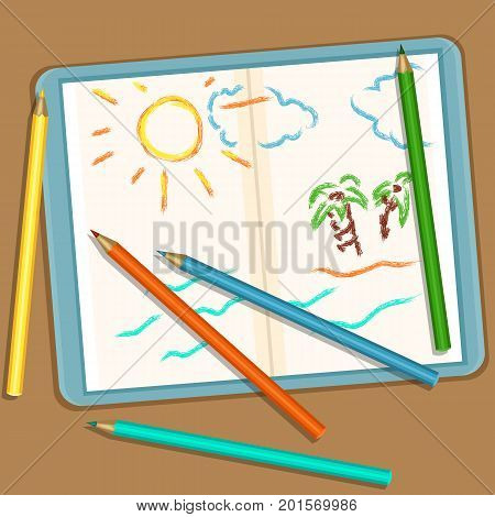 Vector Illustration: Pencils And Notebook With Colored Childrens Sketch Drawings - Vacation Landscap
