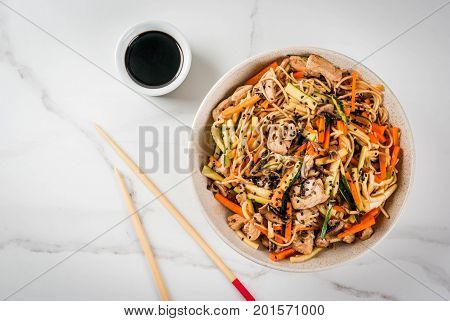 Stirfry With Noodles, Pork And Vegetables