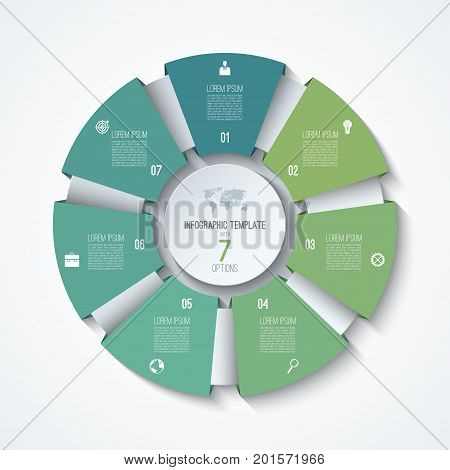 Circle infographic template. Process wheel. Vector pie chart. Business concept with 7 options, parts, steps. Can be used for diagram, graph, chart, step by step infographics, web design