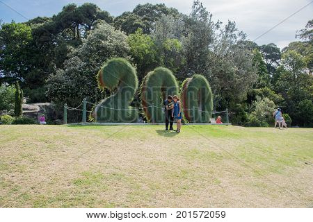 SYDNEY,NSW,AUSTRALIA-NOVEMBER 20,2016: Number plant display celebrating 200 year anniversary at the Royal Botanic Gardens with tourists in Sydney, Australia