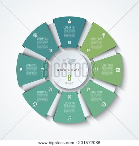 Circle infographic template. Process wheel. Vector pie chart. Business concept with 8 options, parts, steps. Can be used for diagram, graph, chart, step by step infographics, web design