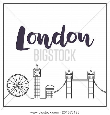 flat line colorful of london template for travel adventure vacation concept