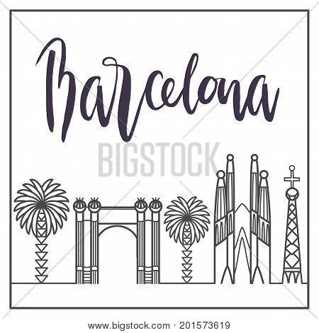 Spain Barcelona modern city landscape skyline panorama, Barcelona sightseeing flat illustration