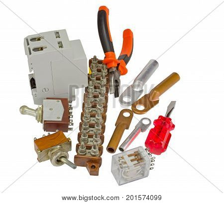 Automatic circuit breaker and electric equipment on white background