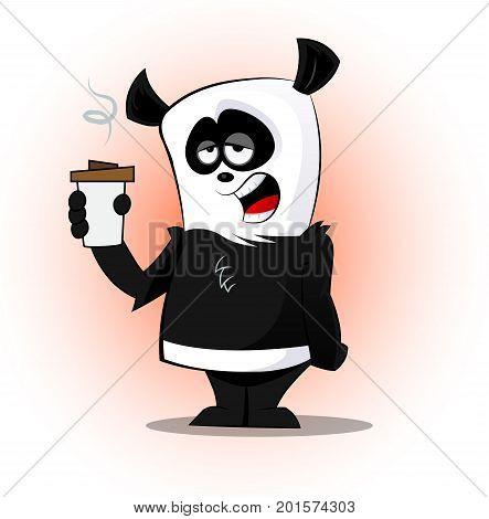 Cute cartoon sleepy panda with cup of coffee. Vector