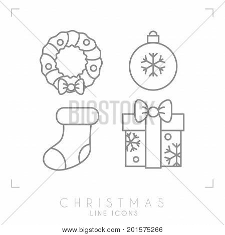 Thin line christmas icons. Decoration christmas wreath decoration ball sock and christmas gift box with snowflakes.