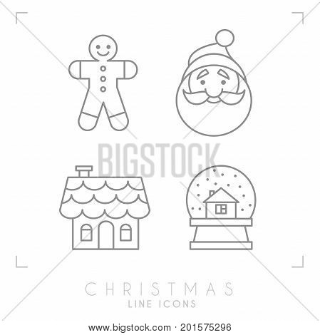 Thin line christmas icons. Gingerbread house glass snowball Santa Claus avatar and gingerbread man.