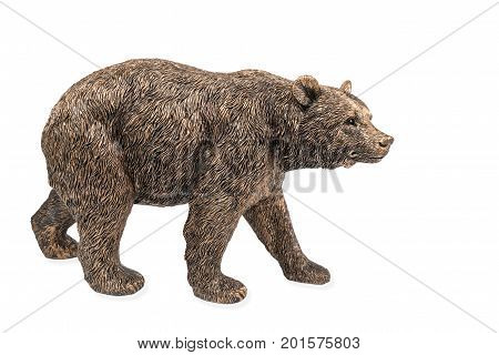 Beautiful bronze figurine of a large brown bear isolated on white background