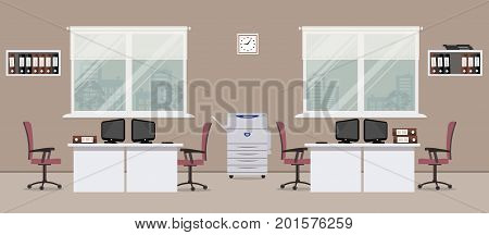 Office room in a cocoa color. There are white tables, purple chairs, a copy machine, computers, shelves with folders and other objects in the picture. Vector flat illustration.