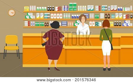 Web banner of a pharmacist. Young woman at the workplace in a pharmacy: standing in front of shelves with medicines.There are also visitors here. Vector illustration