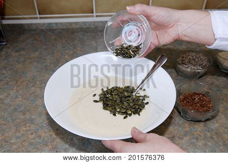 A mixture of various seeds ready for cooking
