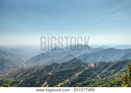 Views from Moro Rock in Sequoia and Kings Canyon National Park, California. Moro Rock is a large granite dome also found in the Giant Forest area