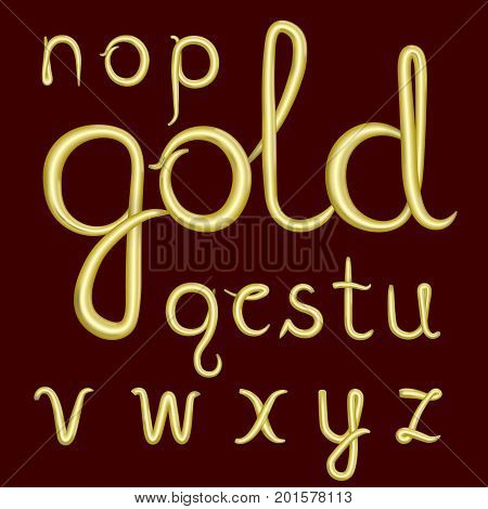 A set of lowercase Latin letters made of thick golden cream. Font is isolated by a velvety dark crimson background. Letters have 3D effect. Part 2. Vector illustration.