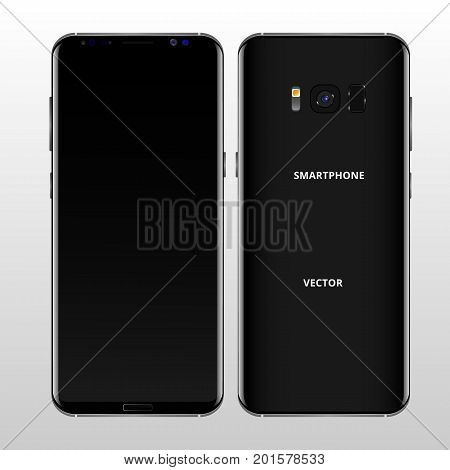 Black mobile phone concept, front view and backside with camera, flash and speaker on a white background. Smartphone with camera buttons, power and volume. Vector realistic high detailed illustration.