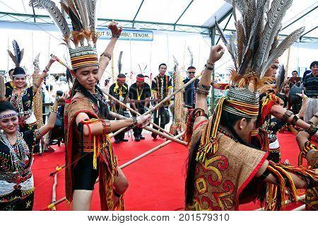 Kota Kinabalu , Malaysia - May 30, 2014: Kadazan Murut Magunatip Dancers Performance During Harvest