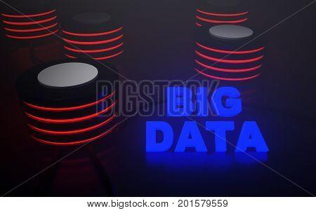 Image of big data servers. 3D rendering.