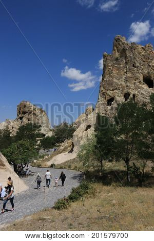 23rd JULY 2017,CAPPADOCIA,TURKEY:Tourists visiting the National park Open air museum in Cappadocia, Turkey, Goreme 23rd july 2017