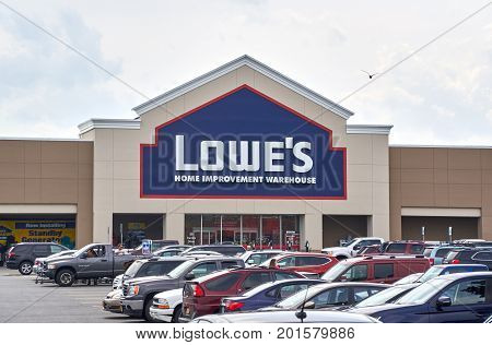 PLATTSBURGH USA - AUGUST 23 2017 : Lowe's store. Lowe's Companies Inc. is a Fortune 500 American company that operates a chain of retail home improvement and appliance stores
