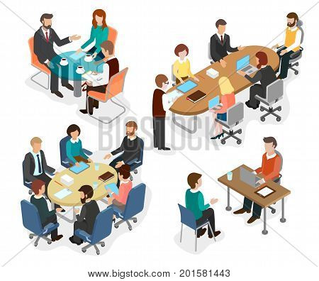Employees of the office team discussed working questions at the table. Business concept flat 3d isometric infographic vector.