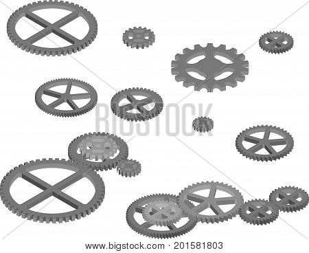 Set of different engine gears for modern hi-tech or industrial design. Isometric view.