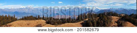 Panoramic view from Khaptad national park mount Saipal great himalayan trail Rara to Khaptad trek in western Nepal