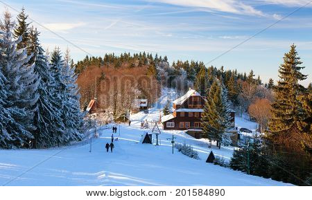 Portas chalet wintry view from Javorniky mountains Slovak and Czech Republic border morning view