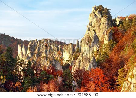 Evening autumnal red colored view from Sulov rockies - sulovske skaly - Slovakia