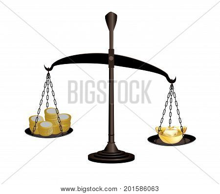 Scale weighing coins and ingots on white background