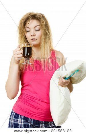 Tired Woman Drinking Her Morning Coffee