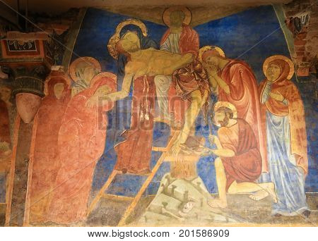 Fresco In Crypt Of Siena Cathedral - Jesus Taken From The Cross