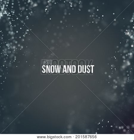 Falling snow particles flying on the air. Dust on the dark background. Snowfall storm. Snowflake cloud explode