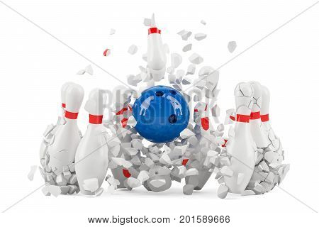 Bowling pins destroyed 3D rendering isolated on white background