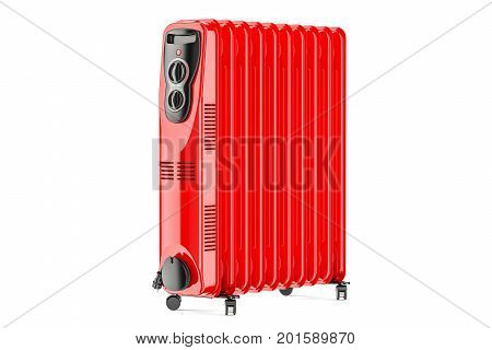 Red electric oil heater oil-filled radiator. 3D rendering isolated on white background