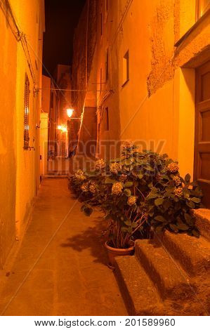 Charming medieval town Castelsardo of Sardinia at night. A small medieval historic town in northern Sardinia, with its unparalleled ancient architecture, castles and churches, standing on top of a hill, at night in the lanterns and moonlight