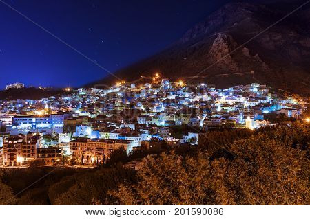 The beautiful town of Chefchaouen in the Rif Montains Morocco at night; Concept for travel in Morocco and North Africa