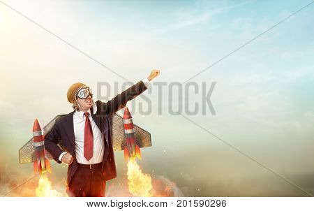Aviator Businessman With Jetpack On His Back - Startup Concept- 3d Rendering