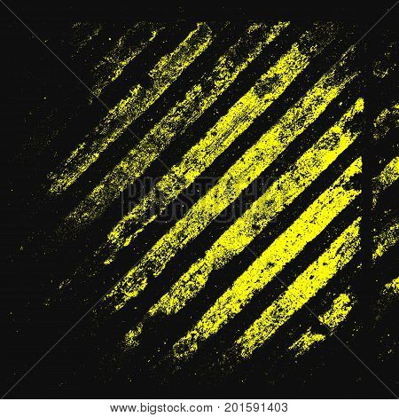Caution metal grunge texture. Hazard stripes. Black and yellow lines. Vector background.