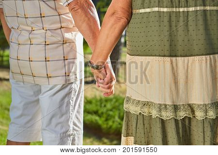 Hands of senior couple. People outdoors, back view. Love and loyalty.
