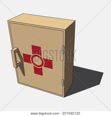three dimensional illustration - brown beige isolated medicine cabinet with red first urgency symbol and shadow in front of a white background