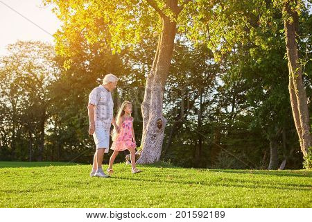 Girl with grandfather walking outdoors. Grandpa and child, summer park.
