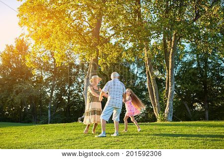 Seniors with grandchild, roundelay. People dancing on green grass. The dance of happiness.