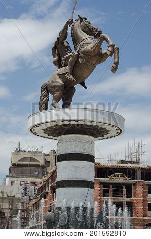 Skopje, Macedonia - 26 June, 2017: Alexander the Great Monument in Skopje, Macedonia. The monument of the Alexander the Great at Macedonia Square.