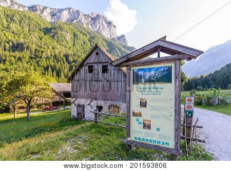 Robanov kot, Slovenia - 20 August 2017: Roban farmstead in Robanov kot, Slovenia is a protected traditional Alpine farm in Idyllic and preserved as monument