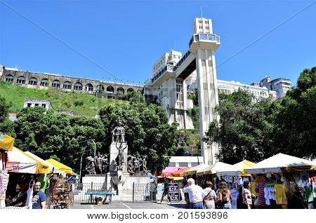 Salvador, Bahia, Brazil February 27, 2013:The Lacerda Elevator is the world's first urban elevator. It serves the public transport function between the Lower City and the Upper City.
