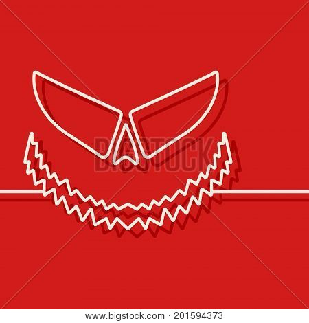 Halloween scary pumpkin template. Jack-o-lantern line design for cover brochures, flyer, party and greeting card. Vector illustration.