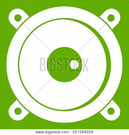 Audio speaker icon white isolated on green background. Vector illustration