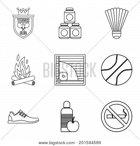Healthy habit icons set. Outline set of 9 healthy habit vector icons for web isolated on white background