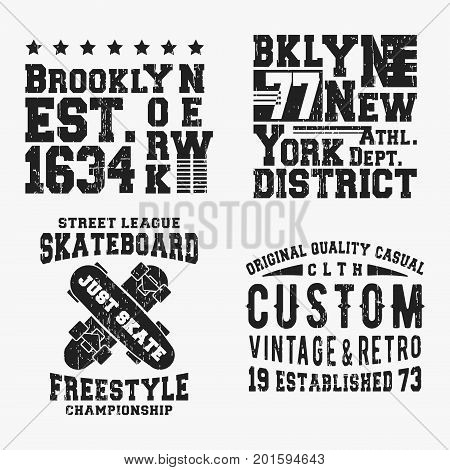 T-shirt print design. Set of various vintage t shirt stamp. Printing and badge applique label t-shirts, jeans, casual wear. Vector illustration.