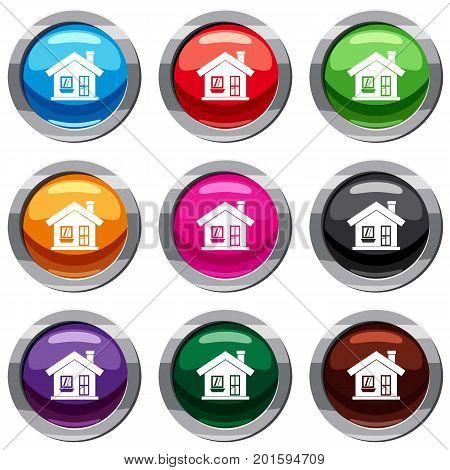 One-storey house with a chimney set icon isolated on white. 9 icon collection vector illustration